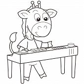 foto of organist  - Cartoon giraffe playing an electronic organ - JPG