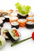 Sushi Set - Different Types of Maki Sushi (Philadelphia roll, Yin Yang Roll, Salmon and Smoked Eel R