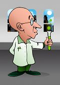picture of albert einstein  - illustration of a cartoon bald scientist doing chemistry experiment on laboratory - JPG