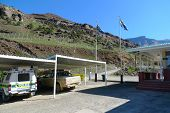 Police cars at Sani Pass border control between South Africa and Lesotho