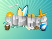 stock photo of starfish  - Summer holidays background with sun - JPG