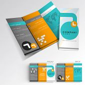 stock photo of brochure  - Professional business three fold flyer template - JPG