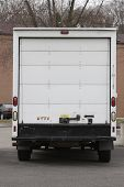 picture of delivery-truck  - rear of white delivery truck - JPG
