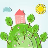 stock photo of dash  - Illustration of spring hilly landscape with house dashed style - JPG