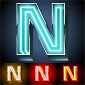 image of letter n  - Vector illustration of realistic neon tube alphabet for light board - JPG