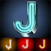 pic of letter j  - Vector illustration of realistic neon tube alphabet for light board - JPG