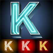 pic of letter k  - Vector illustration of realistic neon tube alphabet for light board - JPG