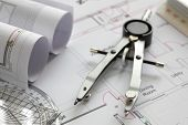 pic of blueprints  - Blueprints and drawing tools concept for construction or development - JPG