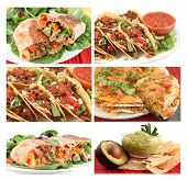 picture of healthy food  - different images of various Mexican food dishes like burritos tacosnachosguacamole and fajitas - JPG
