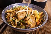 stock photo of lo mein  - fried noodles with chicken - JPG