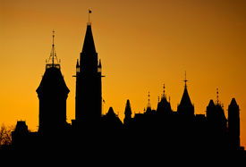 image of crip  - The Canadian Parliament buildings as a silhouette against a beautiful orange sunset - JPG