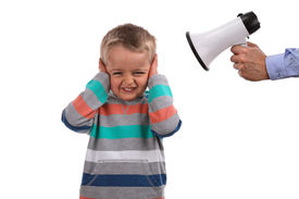 pic of adversity humor  - Father or teacher telling off son or pupil by shouting through a megaphone whilst his hands covering ears not listening - JPG