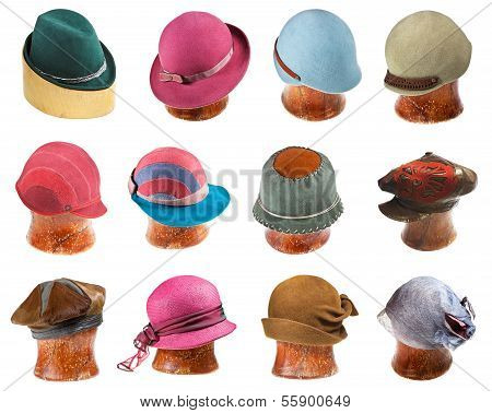 Set Of Ladies Felt Hats On Wooden Hat Block