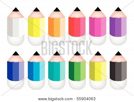 Colorful Sharpened Pencil Icons On White Background