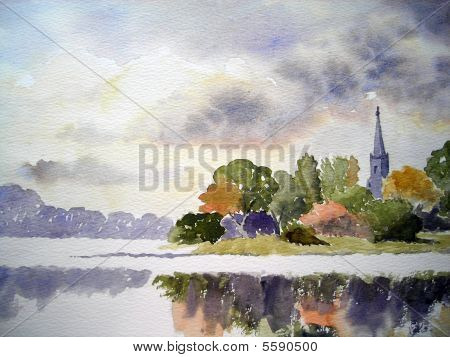 a tall spire in the woods