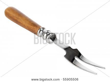 Fork with two prongs isolated on white
