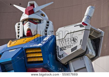 TOKYO - FEBRUARY 7: Gundam Mobile Suit Replica February 7, 2013 in Tokyo, JP. The 1/1 scale 18m tall statue was built as part of the 30th anniversary of the Gundam series.