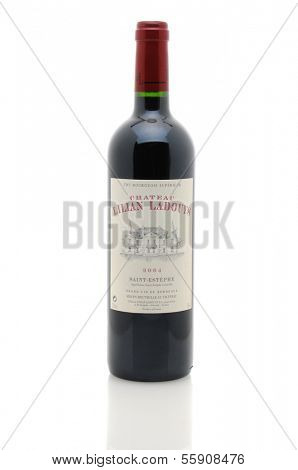 IRVINE, CA - JANUARY 11, 2013: A 750 ml bottle of Chateau Lillian Ladouys. A Grand vin de Bordeaux from the Saint Estephe appellation of France.