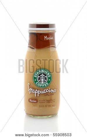 IRVINE, CA - JANUARY 11, 2013: A 9.5 oz bottle of Starbucks Frappuccino Coffee Drink. Seattle based Starbucks is the largest coffeehouse company in the world, with over 20,000 stores in 62 countries.