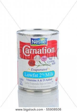 IRVINE, CA - JANUARY 11, 2013: A 12 oz. can of Carnation Evaporated Milk. The brand is mainly known for its evaporated milk product created in 1899, then called Carnation Sterilized Cream.
