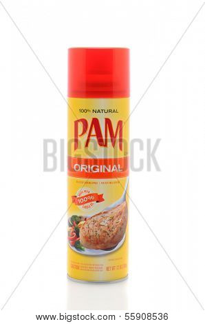 IRVINE, CA - JANUARY 11, 2013: A 12 oz. can of Pam No-Stick Cooking Spray. Pam, created in 1961 is a product of ConAgra Foods, and is the leader in non-stick cooking sprays.