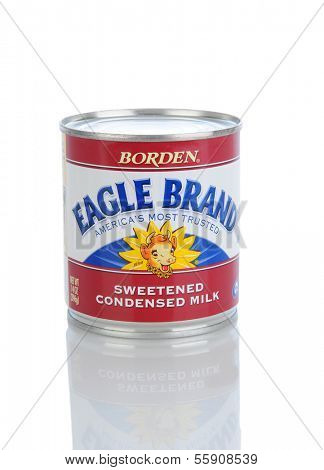 IRVINE, CA - JANUARY 11, 2013: A 14 oz. can of Borden Eagle Brand Condensed Milk. Borden started selling processed milk to consumers in 1875. J.M. Smucker now uses the name for their condensed milk.