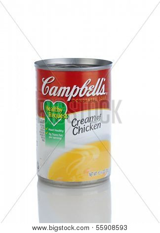 IRVINE, CA - JANUARY 11, 2013: A can of Campbells Condensed Cream of Chicken Soup. Headquartered in Camden, New Jersey, Campbell's products are sold in 120 countries around the world.