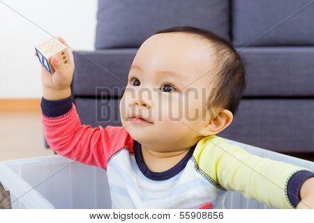 Asian baby boy smile