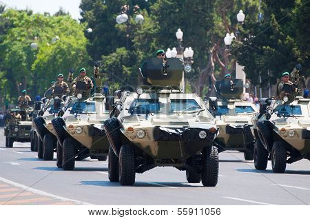BAKU, AZERBAIJAN - JUNE 26 2011 - Military Parade in Baku, Azerbaijan on Army Day