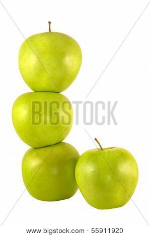 Four green apples.