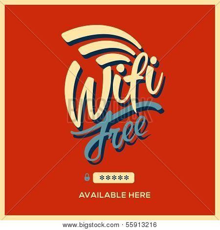 Free wifi symbol retro style