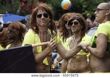 Participants walking in Provincetown Carnival at Provincetown Massachusetts.