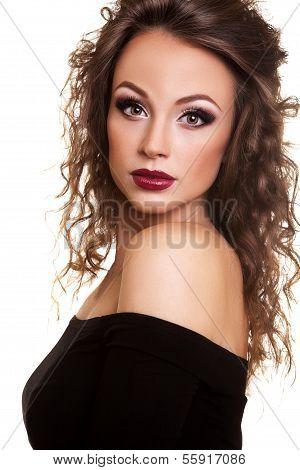 Beautiful Fashion Girl Isolated On White Background