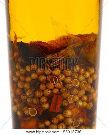 Oil with spicery into bottle.