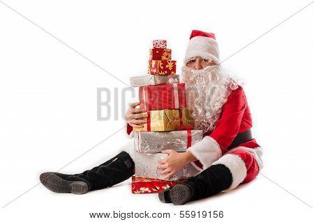 greedy Santa Claus and gifts pyramid