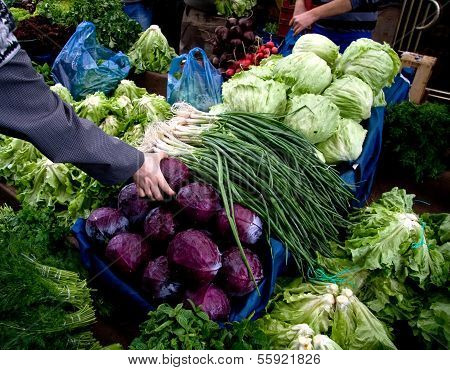 Hand Picking Fresh Organic Vegetables At A Street Market In Istanbul, Turkey.