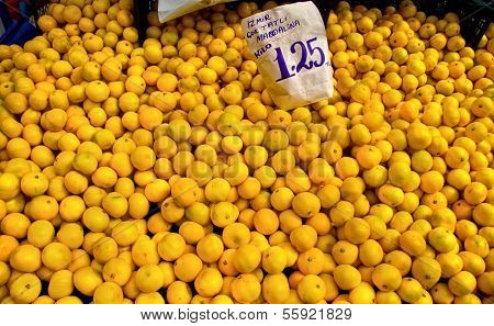 Fresh Organic Mandarin At A Street Market In Istanbul, Turkey.