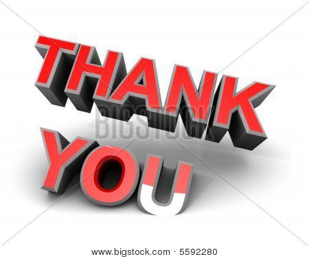 Thank You Red Sign Words 3d White Title