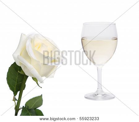 White collage. Rose and glass of wine.