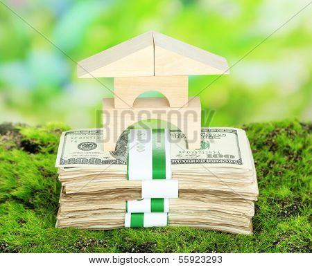 Wooden house on packs of dollars on grass on natural background