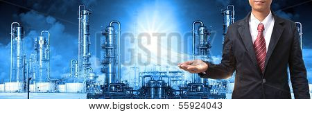 business man and refinery industry plant use for heavy industry and petrochemical industry theme