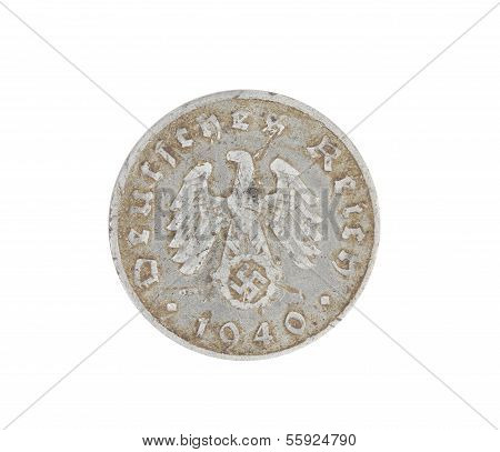 Deutsches coin isolated on white. Back.