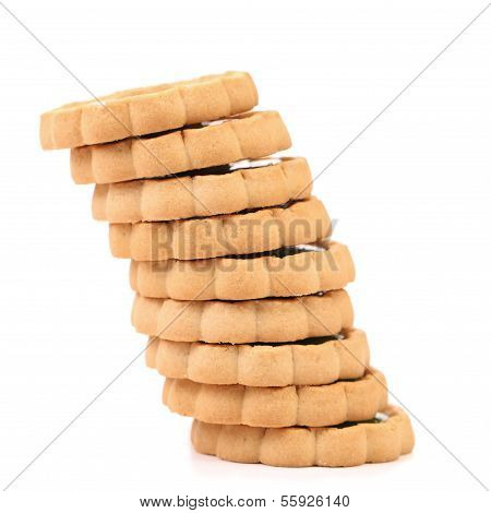 Stacks of cookies like piza tower.