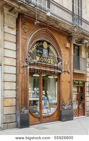 Modernist facade of philately shop, in Barcelona