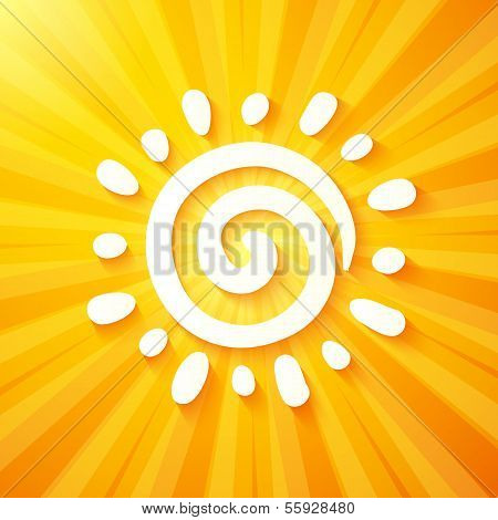 White cut out paper sun on yellow background