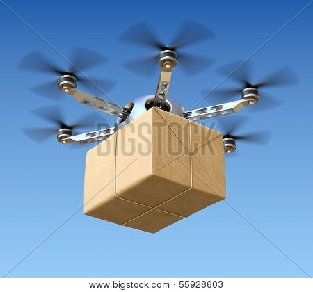 Delivery drone with post package