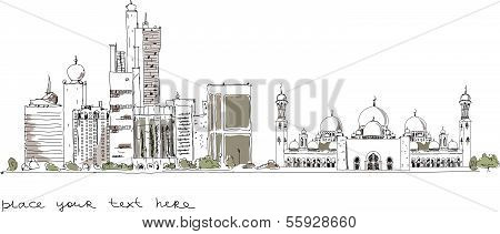 United Arab Emirates artistic sketch background