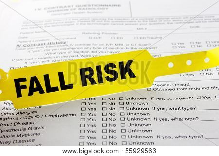 Fall Risk Bracelet On Top Of Hospital Questionnaire
