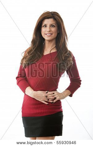 Attractive Hispanic Brunette Office Career Woman