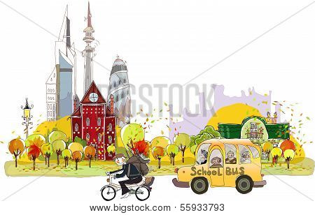 Back to school time, city autumn background